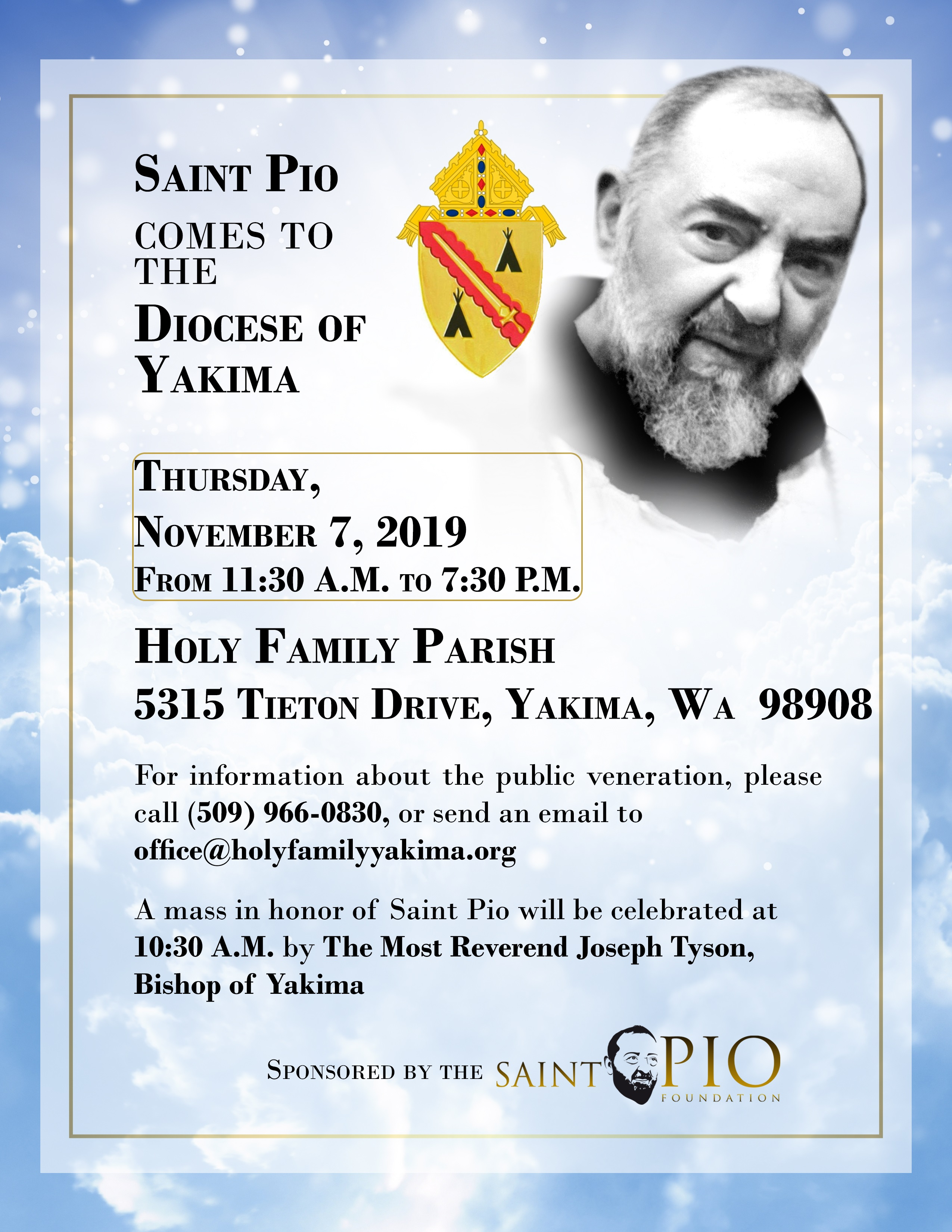 Saint Pio Comes to The Diocese of Yakima