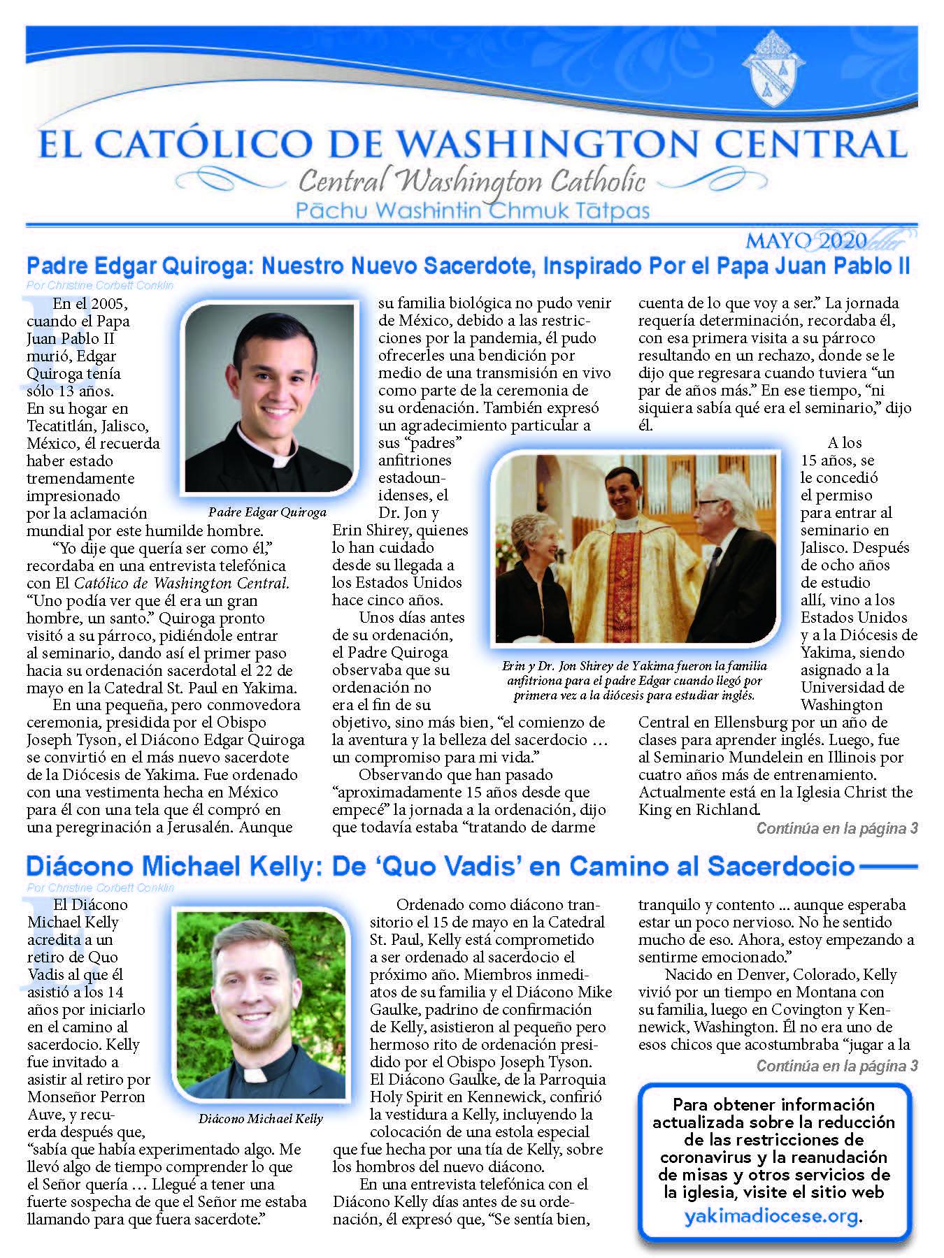 May 2020 Central Washington Catholic   El Católico Washington Central