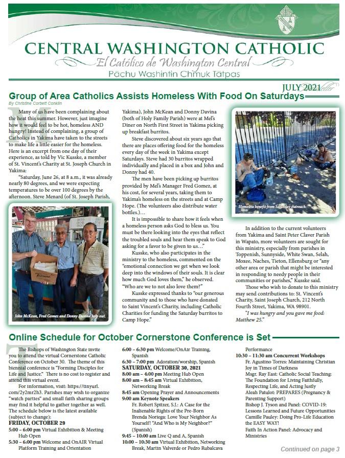 July Central Washington Catholic | El Católico Washington Central